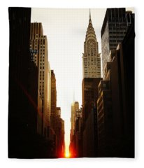Manhattanhenge Sunset And The Chrysler Building  Fleece Blanket