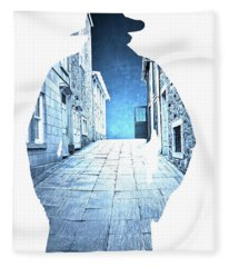 Man's Profile Silhouette With Old City Streets Fleece Blanket