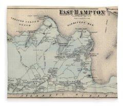 Map Of East Hampton 1873 Fleece Blanket