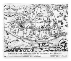 Map Of Fort Ord Army Base Monterey California Circa 1950 Fleece Blanket