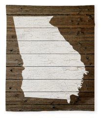 Map Of Georgia State Outline White Distressed Paint On Reclaimed Wood Planks Fleece Blanket