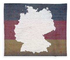 Map Of Germany In White Old Paint On German Flag Barn Wood Fleece Blanket