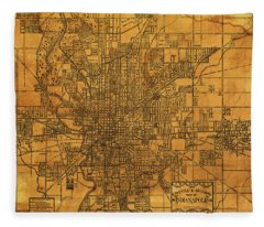 Map Of Indianapolis Vintage Bicycle And Driving Street Diagram On Weathered Parchment Fleece Blanket