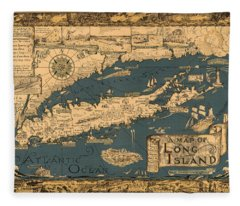 Map Of Long Island Fleece Blanket