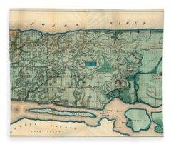 Map Of Manhattan Fleece Blanket