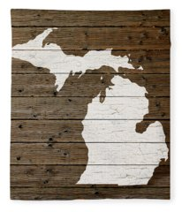 Map Of Michigan State Outline White Distressed Paint On Reclaimed Wood Planks Fleece Blanket