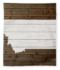 Map Of Montana State Outline White Distressed Paint On Reclaimed Wood Planks Fleece Blanket