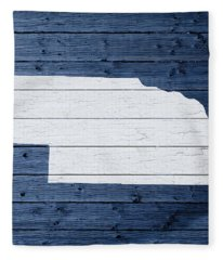 Map Of Nebraska State Outline White Distressed Paint On Reclaimed Wood Planks Fleece Blanket