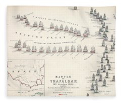Map Of The Battle Of Trafalgar Fleece Blanket