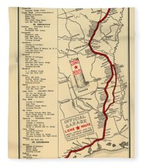 Map Of The Lone Star Route 1922 Fleece Blanket