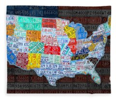 Map Of The United States In Vintage License Plates On American Flag Fleece Blanket