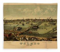Map Of Toledo 1876 Fleece Blanket