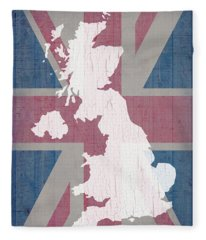 Map Of United Kingdom And Union Jack Flag On Barn Wood Fleece Blanket