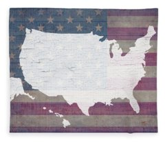 Map Of United States In White Old Paint On American Flag Barn Wood Fleece Blanket