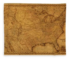 Map Of United States Of America Vintage Schematic Cartography Circa 1855 On Worn Parchment  Fleece Blanket