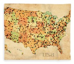 Map Of United States Of America With Crystallized Counties On Worn Parchment Fleece Blanket