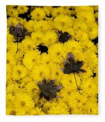 Maple Leaves On Chrysanthemum Fleece Blanket