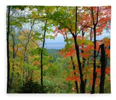 Maples Against Lake Superior - Tettegouche State Park Fleece Blanket
