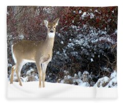 March Snow And A Doe Fleece Blanket