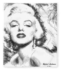 Fleece Blanket featuring the digital art Marilyn Monroe - The One And Only  by Rafael Salazar