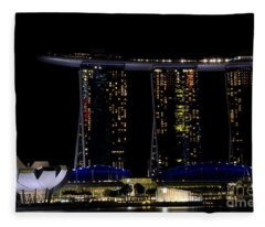 Marina Bay Sands Integrated Resort Hotel And Casino And Artscience Museum Singapore Marina Bay Fleece Blanket