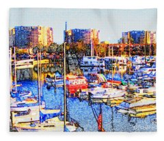 Marina City Club Marina Del Rey Fleece Blanket