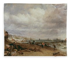 Marine Parade And Old Chain Pier, 1827 Oil On Canvas Fleece Blanket