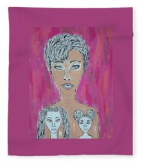 Mother And Daughters Painting And Drawing Fleece Blanket
