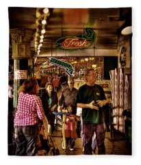 Market Fresh At Pike Place Market Fleece Blanket