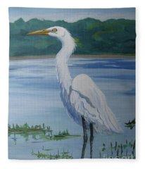Marsh Land Egret Fleece Blanket