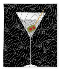 1920s Martini Cocktail Art Deco Swing   Fleece Blanket