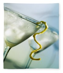 Martini With Lemon Peel Fleece Blanket