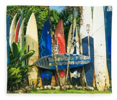 Maui Surfboard Fence - Peahi Hawaii Fleece Blanket