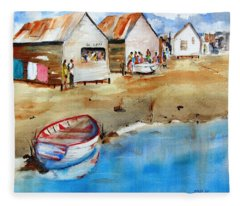 Mauricio's Village - Beach Huts Fleece Blanket