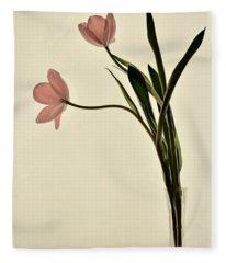 Mauve Tulips In Glass Vase Fleece Blanket