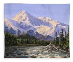Majestic Denali Mountain Landscape - Alaska Painting - Mountains And River - Wilderness Decor Fleece Blanket