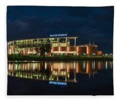 Fleece Blanket featuring the photograph Mclane Stadium At Night by Todd Aaron