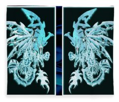 Mech Dragons Diamond Ice Crystals Fleece Blanket