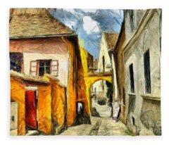 Medieval Street In Sighisoara Transylvania Romania - Painting Fleece Blanket