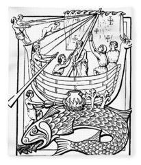 Medieval Whale Fleece Blanket