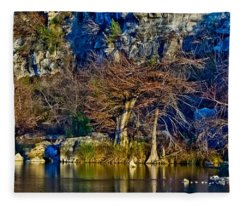 Medina River At Comanche Cliffs Fleece Blanket