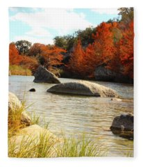 Fall Cypress At Bandera Falls On The Medina River Fleece Blanket
