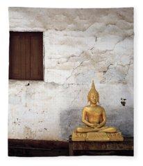 Meditation In Laos Fleece Blanket