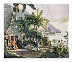 Meeting Between The Expedition Party Of Otto Von Kotzebue 1788-1846 And King Kamehameha I Fleece Blanket