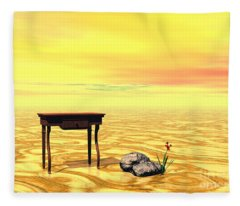 Meeting On Plain - Surrealism Fleece Blanket