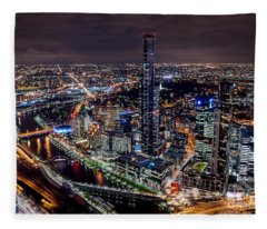 Melbourne At Night IIi Fleece Blanket