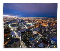Melbourne At Night Fleece Blanket