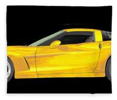 Mellow Yellow Corvette C 6 Fleece Blanket