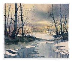 Melt Water On Skipwith Common Fleece Blanket