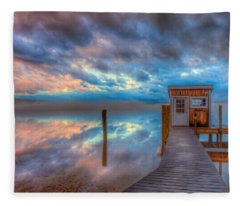 Melvin Village Marina In The Fog Fleece Blanket